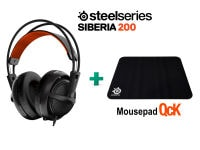 SteelSeries Siberia 200 Black & Δώρο Mousepad SteelSeries QcK- Gaming Headset Μαύρο
