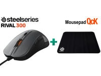SteelSeries Rival 300 & Δώρο Mousepad SteelSeries QcK - Gaming Mouse Ασημί