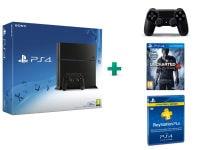 Sony PlayStation 4 - 500GB C Chassis & Uncharted 4: Το Τέλος Ενός Κλέφτη & PlayStation Plus Συνδρομή 3 Μηνών & 2ο χειριστήριο (μαύρο)