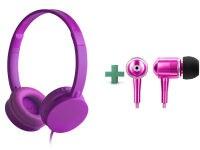 Ακουστικά κεφαλής Energy Headphone Colors Μωβ & Energy Urban 2 Ροζ