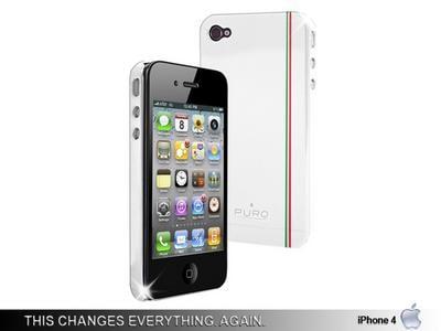 Θήκη iPhone 4/4s - Puro Silicon White Flag VCPR4G-FLAG2 Λευκό apple   αξεσουάρ iphone   θήκες