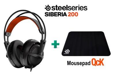 SteelSeries Siberia 200 Black & Δώρο Mousepad SteelSeries QcK- Gaming Headset Μαύρο