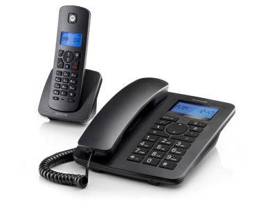 Motorola C4201 Combo Ασύρματο & Ενσύρματο Τηλέφωνο Μαύρο