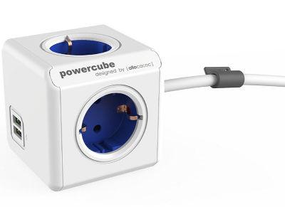 Powercube Extended USB - Πολύπριζο - Λευκό-Μπλε