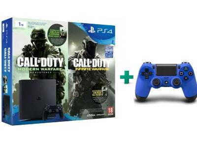 Sony PlayStation 4 - 1TB Slim D Chassis & Call of Duty: Infinite Warfare Legacy Edition (Digital) & 2ο χειριστήριο (μπλε)