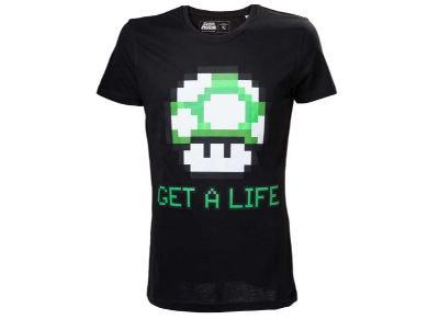 T-Shirt Nintendo Super Mario - Get a Life Μαύρο M