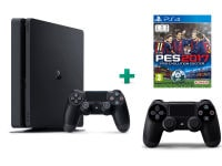 Sony PlayStation 4 - 1TB Slim D Chassis & Pro Evolution Soccer 2017 & 2ο Χειριστήριο (μαύρο)