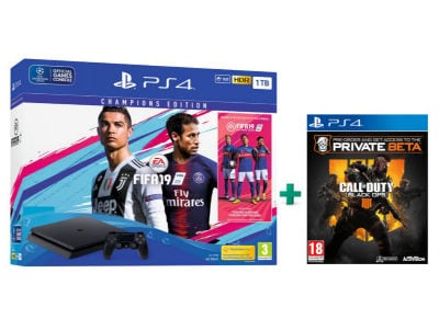 Sony PS4 Slim 1TB Μαύρο & FIFA 19 Champions Edition & Call of Duty: Black Ops IIII