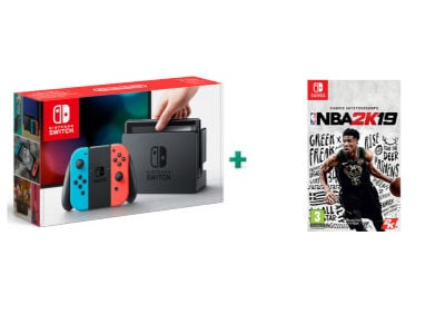 Nintendo Switch Neon Red/Neon Blue Κονσόλα & NBA 2K19 gaming   κονσόλες   nintendo switch
