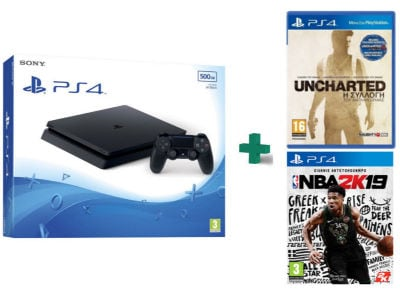 Sony PlayStation 4 - 500GB Slim D Chassis & Uncharted Nathan Drake Collection & NBA 2K19