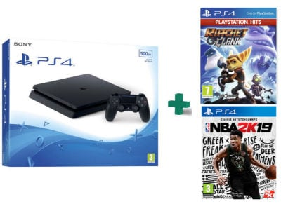 Sony PlayStation 4 - 500GB Slim D Chassis & Ratchet & Clank PlayStation Hits & NBA 2K19