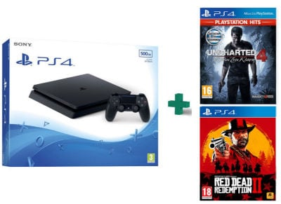 Sony PlayStation 4 - 500GB Slim D Chassis & Uncharted 4: Το Τέλος Ενός Κλέφτη PlayStation Hits & Red Dead Redemption 2